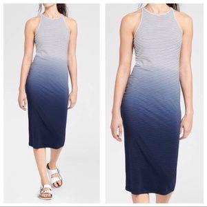Athleta Sunkissed Blue Ombre Stripe Midi Dress